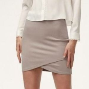 Aritzia Talula Primrose Tan Faux-Wrap Mini Skirt